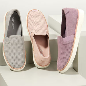 Vionic Malina Perforated Suede Slip Ons Berry 8.5